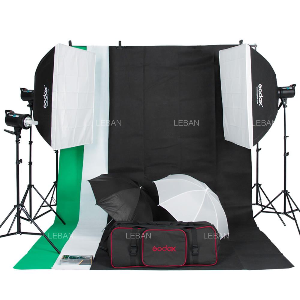 Free DHL 900W  Godox 3x DE300 300Ws Studio Flash Lighting Kit Digital LED Cooling Fan 3 Background +Stand