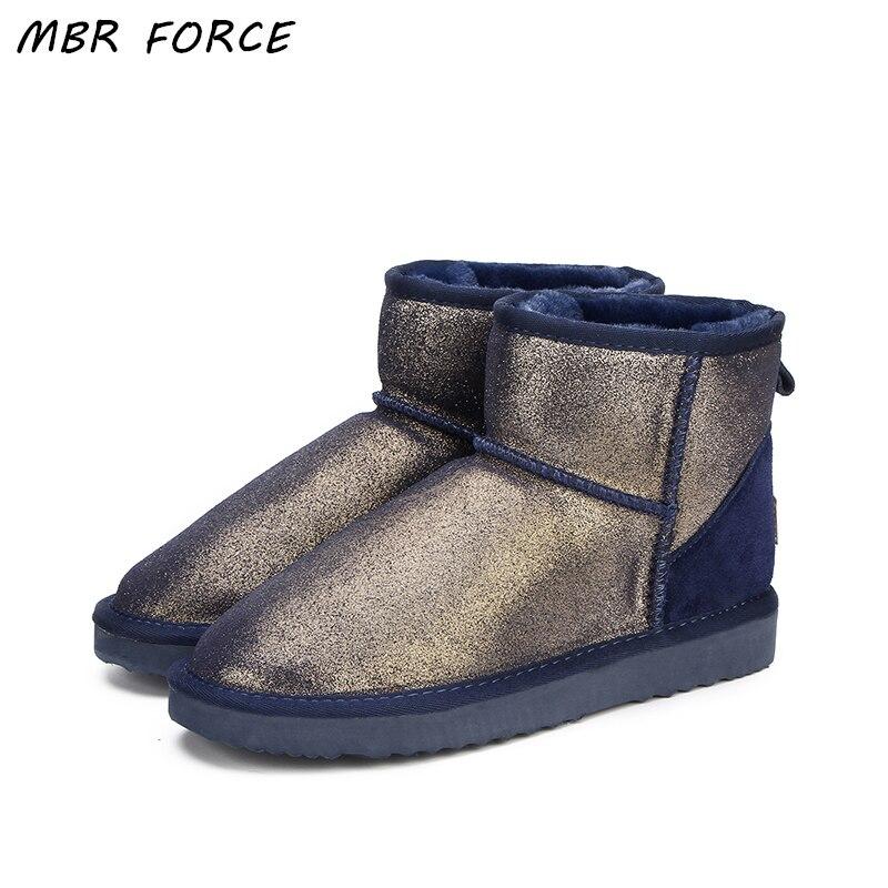 MBR FORCE Mode Femmes neige bottes 100% En Cuir Véritable femmes Bottes d'hiver chaudes et imperméables bottes cheville bottes Livraison Gratuite