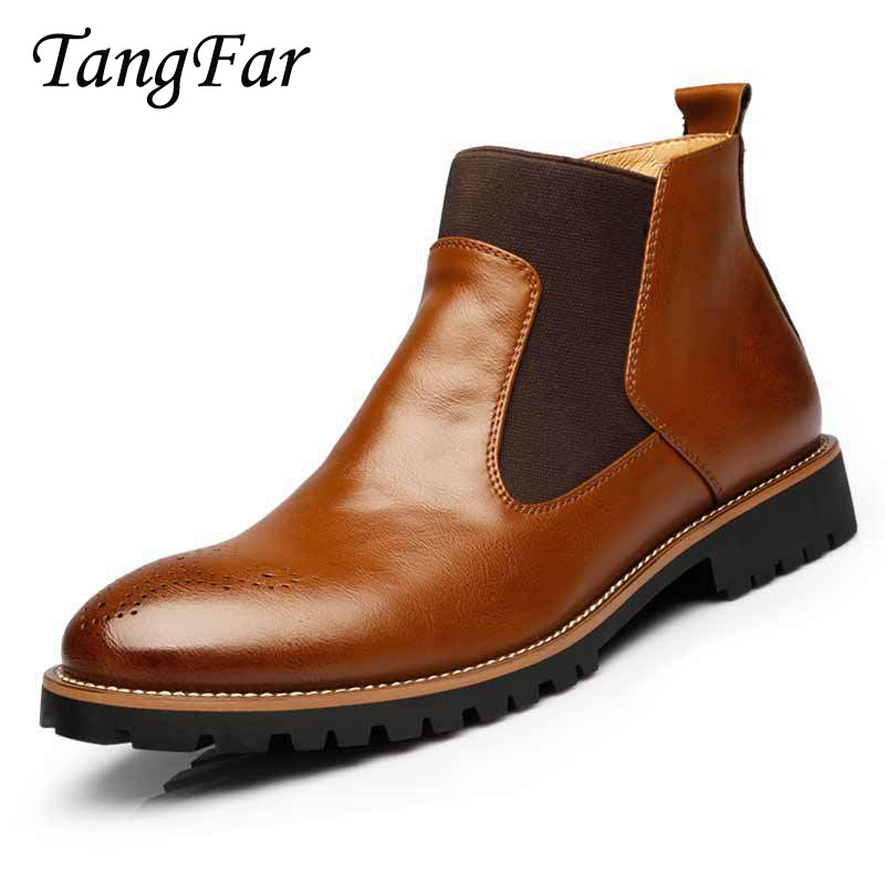 2017 Autumn Winter Men Chelsea Boots Mens Brogue Shoes Pointed Toe Fashion Brand Male Le ...
