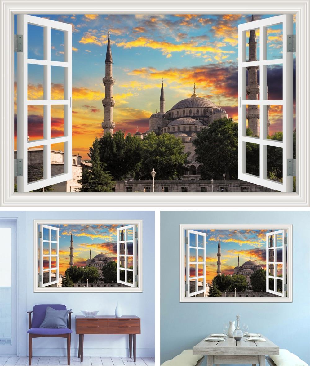Removable 3D Window view sticker Muslim Masjid Islam Construction Decal Wallpaper Wall Art poster Landscape wall art picture