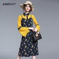 ANNROOT Dress women 2017 new arrive retro lace sleeves Dresses for women slings floral high quality dress female natural 17039