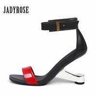 Jady Rose Summer Gladiator Sandals Women Footwear 8CM Strange High Heels Female Wedding Dress Shoes Woman Wedges Women Pumps