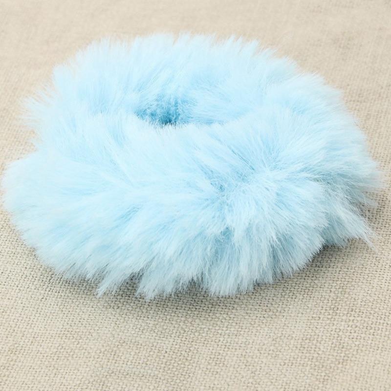 Модная эластичная резинка из искусственного кроличьего меха для девочек, резинка для волос, держатель для хвоста, эластичная плюшевая повязка для волос, кольцо, аксессуары для волос - Цвет: BL