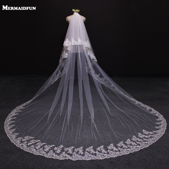 2017 New Two Layers Bling Sequined Lace Edge 3 Meters Long Wedding Veil With Comb 2T