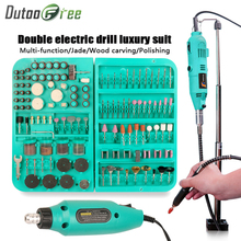 Dutoofree Double Electric Drill Power Tools Electric Diy Mini Drills For Dremel Rotary Power Tools Electric Engraver Hand Drill dremel electric drill stand power rotary tools accessories bench drill press stand diy tool double clamp base frame drill holder