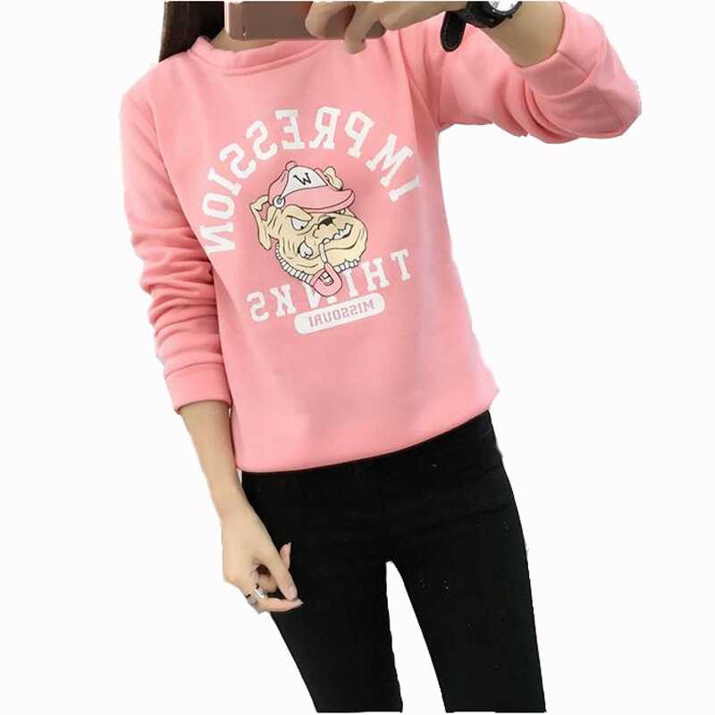 Fashion Print Women Hoodie Sweet Style Long Sleeve O Neck Cotton Womens Pullover Tracksuits Casual Loose Sudaderas Mujer