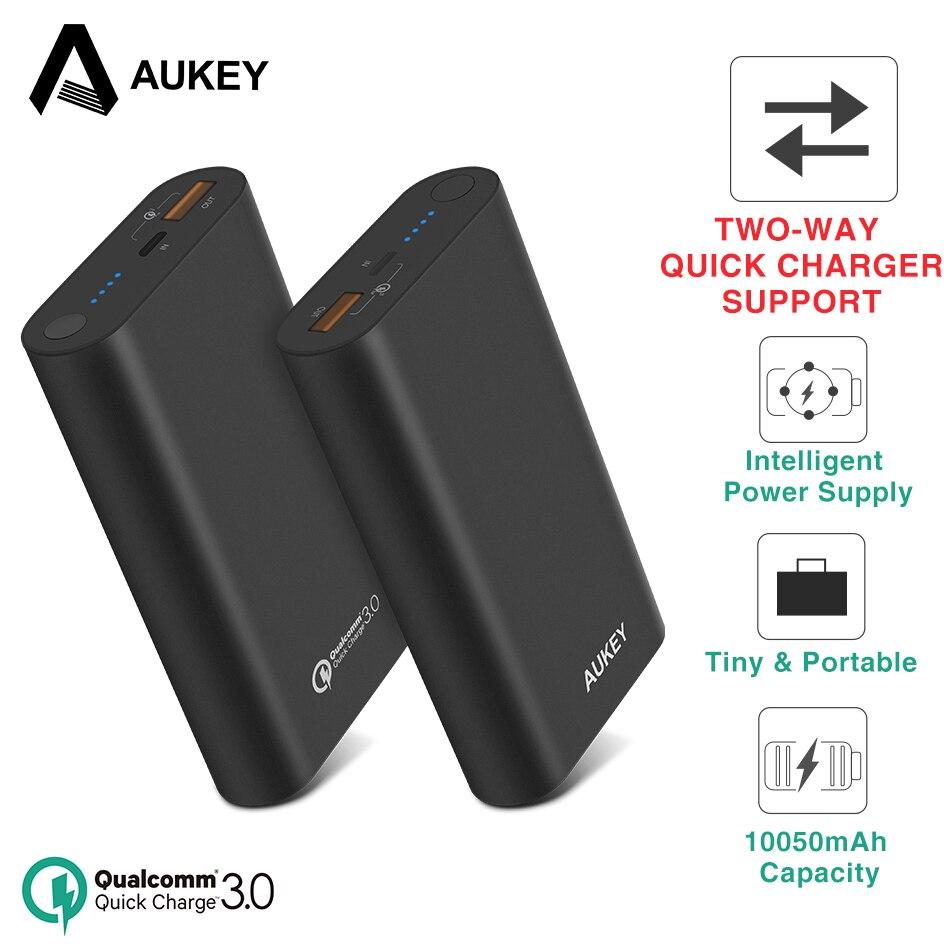 AUKEY 18 watt Zwei-Weg Qiuck Ladegerät 10050mA Power Bank Quick Charge 3,0 Power Externe Batterie Pack für Xiaomi iPhone Poverbank