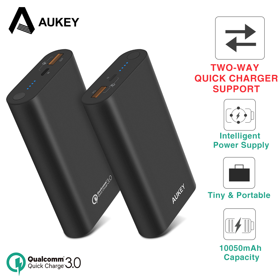 AUKEY 18W Two-Way Qiuck Charger 10050mA Power Bank Quick Charge 3.0 Powerbank External Battery Pack for Xiaomi iPhone Poverbank