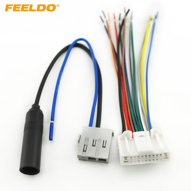 Feeldo 1set Car Audio Stereo Wiring Harness Antenna