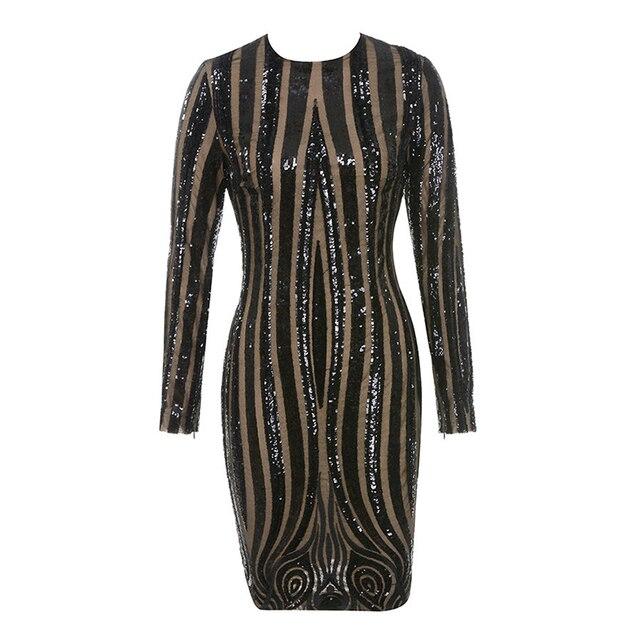 7f41a758be JB0003 latest new arrival hot sale fashion nova O neck black fringe strip  sequin lace long sleeve bodycon mini dress for party