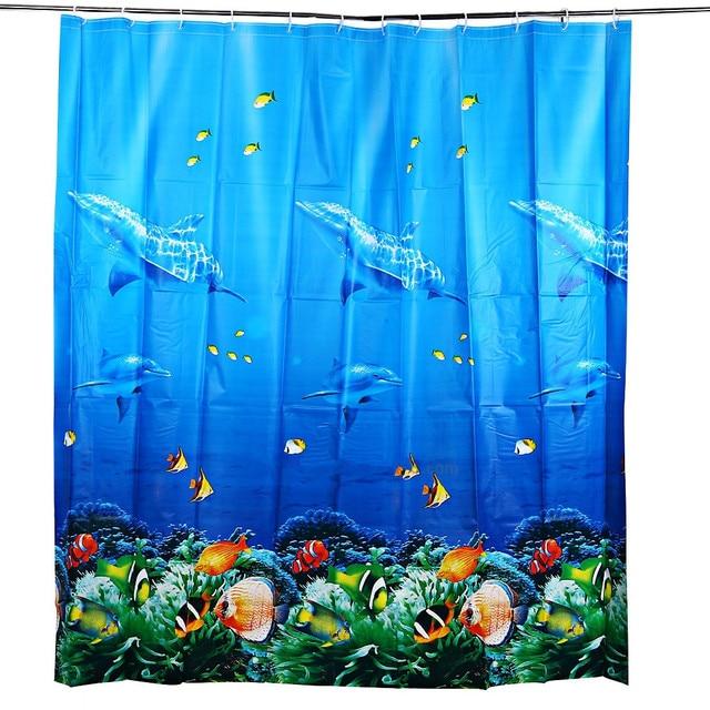Underwater Sea World Pattern EVA Waterproof Bathing Shower Curtain ...