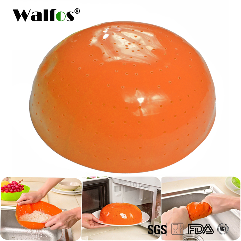 WALFOS Food Grade Silicone Kitchen Drain Basket Rice Washing Vegetables Colander Fruit Baskets Microwave Dish Cover