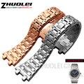 28mm rose goud zilver hoge kwaliteit geïmporteerd rvs horlogeband voor AP horloges met vlinder sluiting strap armband