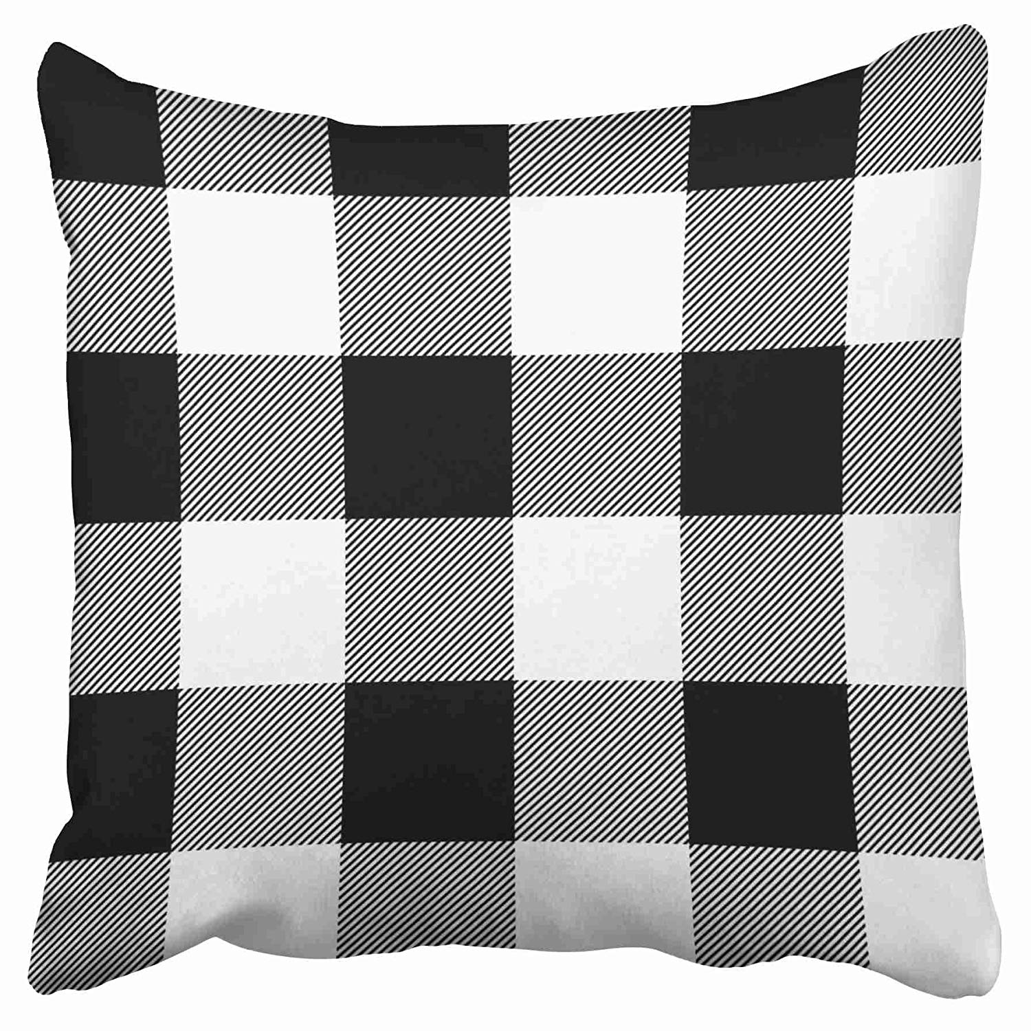 Throw Pillow Covers Rustic Black And White Buffalo Check Plaid Outdoor Double Sided Pillowcase Cushion Case Protectors Inches