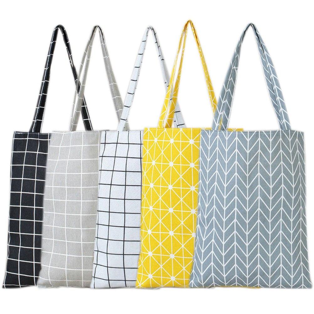Us 4 03 25 Off Fashion Las S Casual Tote Bags Por Women Cotton Linen Grid Striped Shoulder Bag Handbag Canvas Purse Pouch Ab W3 On