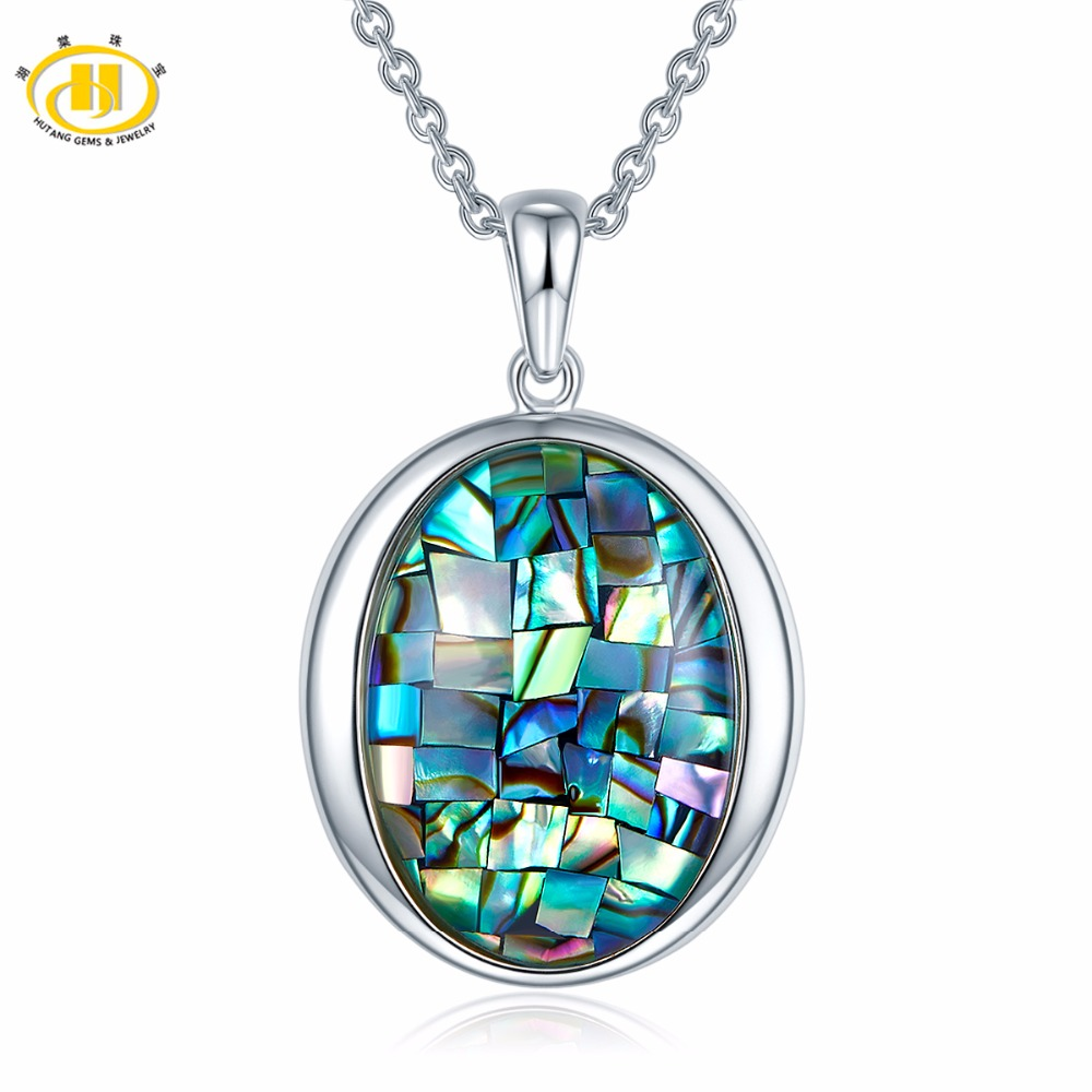 Rainbow Triplet Mosaic Abalone Shell Solid 925 Sterling Silver Pendants & Necklaces 18 inches Chain Fine Jewelry New Arrival