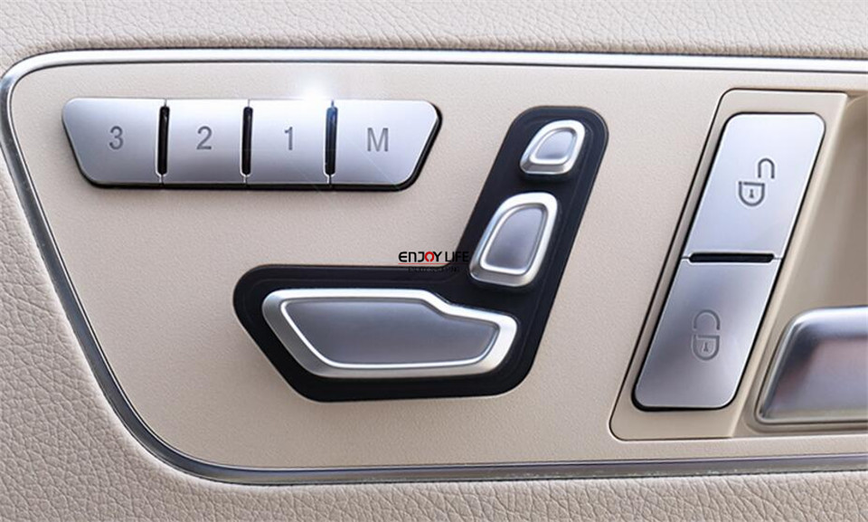 Seat Memory Lock Unlock Switch Button Cover Trim For Mercedes Benz E GLK GLE CLA GLA CLS ML GL Class W212 C117 X156 W218 W166 for benz cla c117 w117 inner door window switch button cover 2014 2017 14pcs