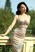FREE SHIPPING La Palais Vintage Limited Elegant And Sexy Retro Wave Nude Corset Dress Bodycon Dress