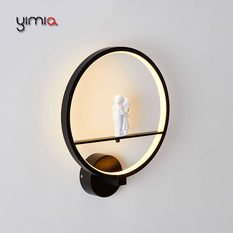 YIMIA LED Wall Lamps Indoor Modern Living Room Bedroom Wall Stair Lights Courtyard Aisle Balcony Nordic Hotel Project Lamps