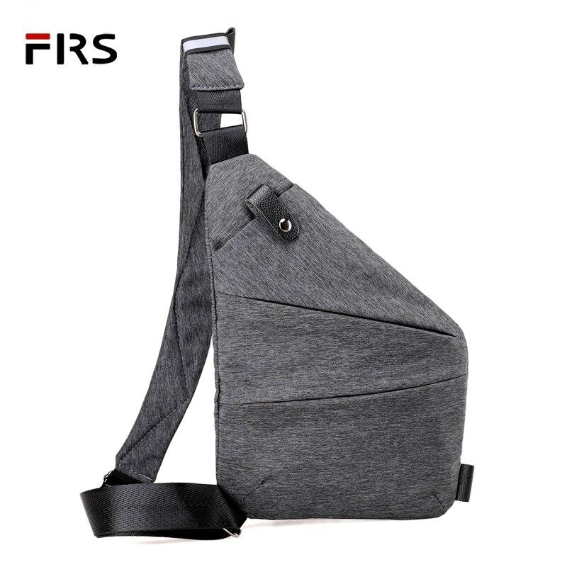 FLRS Messenger Bag Men Shoulder Bags Black Casual Functional Men Chest Pack Dual Compartmemt Sling Bag Daily Pack for Male Man