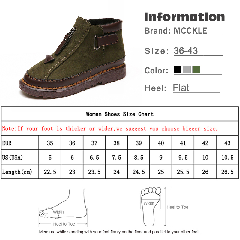 Image 5 - MCCKLE Women Ankle Boots Spring Plus Size Female Short Booties Platform Retro Nebuck Fashion Zipper Casual Woman's Shoes-in Ankle Boots from Shoes