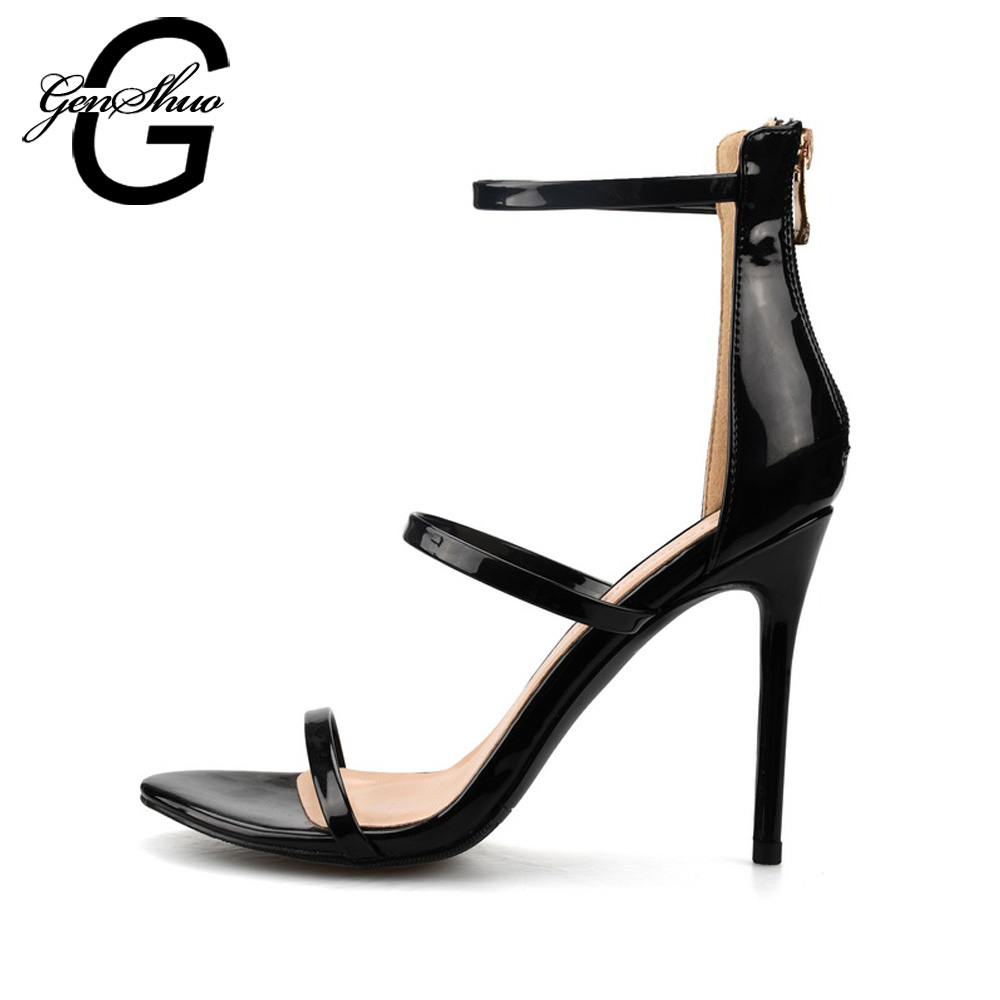 GENSHUO Big Size 32 46 Stilettos Pumps Sandals Summer Ankle Strap Gladiator Shoes For Woman Narrow