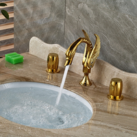 Countertop Sink Basin Water Taps with Dual Handles Three Holes Deck Mounted Gold Faucet