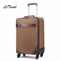 LeTrend 16 inch Cabin Rolling Luggage Spinner Suitcase Wheel 20 inch Canvas Password Trolley Case Travel Bag Women School Bag