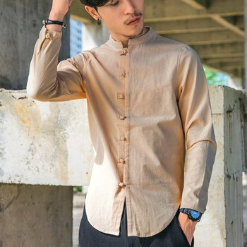 7ffba27c7dc74aa Мужские повседневные рубашки лето 2019 весна новые винтажные рубашки без  воротника с длинным рукавом однотонные темно-синие льняные рубашки .