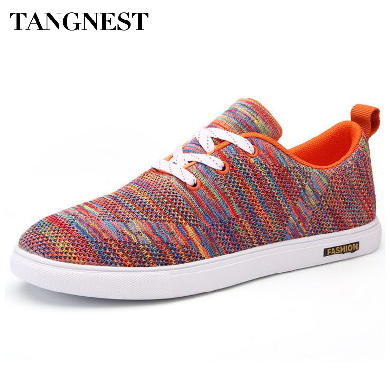 Tangnest Men's Vulcanize Shoes For 2017 Spring Men Knitted Lace Up Flats Chic Design Breathable Footwear For Man XMR2548
