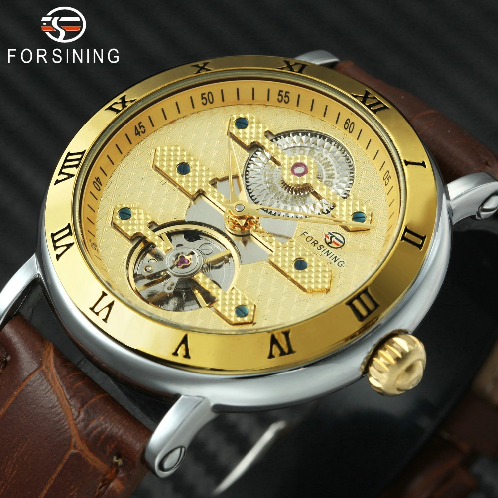 FORSINING Top Brand Luxury Automatic Watch Men Tourbillon Mechanical Movement Roman Numerals Dial 2018 Royal Golden Mens Watches