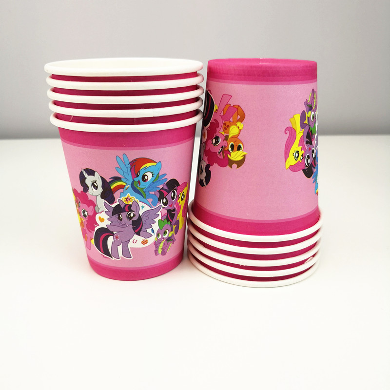 61pcs Disposable Tableware sets Little Horse TableCloth cups Paper