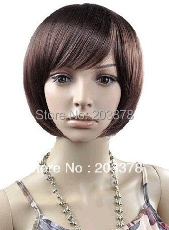 Capless Short Bob High Quality Synthetic Dark Brown Straight Wig Free Shipping