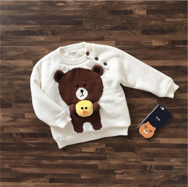 Ins 2016 niños chicos ropa blanca hecha a mano de moda de corea suéteres suéteres de oso niñas ropa de invierno ropa de los cabritos