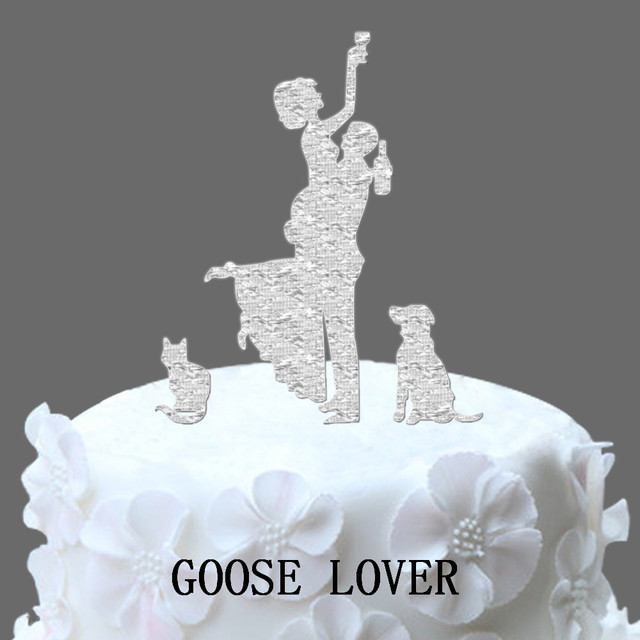 Us 8 99 Funny Wedding Cake Topper Silhouette Dog Silhouette Wedding Cake Topper Drunk Bride Wedding Cake Topper With Cat And Dog In Funny Wedding