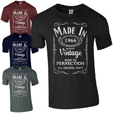Custom Printed T Shirts  MenS Short Sleeve Top O-Neck Style Made In 1966 T-Born 51St Year Birthday Age Present Shirt