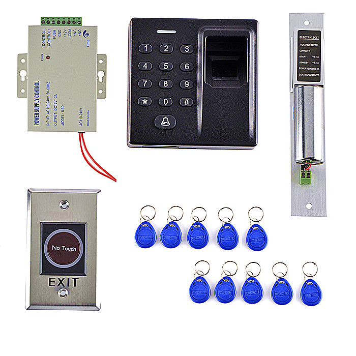 10 Key Card +500 Users Fingerprint Access Control System Kit +Stainless Steel No Touch Door Button biometric fingerprint access controller tcp ip fingerprint door access control reader