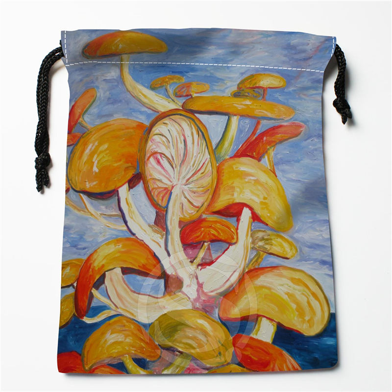 Q-47 New Fantasy Mushroom Custom Logo Printed  Receive Bag  Bag Compression Type Drawstring Bags Size 18X22cm Q801!F47