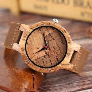 Image 2 - עץ שעון גברים של ייחודי פקק סיגים/שבור עלים פנים חיוג שעון עץ קוורץ שעון זכר נשים אמיתי עור להקת שעוני יד