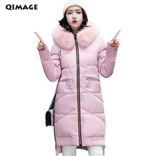 QIMAGE Women Winter Coat Jacket Warm Parkas Female Overcoat High Quality Quilting Parka Cotton Coat 2017 Collection