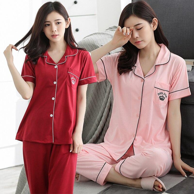 2019 Summer Cotton   Pajamas     Sets   for Women Short Sleeve Long Pants Sleepwear Pyjama Loungewear Homewear Pijama Mujer Home Clothes