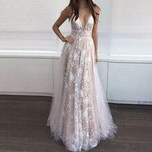 2018 New Arrival Fashion Evening Party Dress Women Sexy Deep V Neck Lace Maxi Long Dress Elegant Vestidos Backless Women Dress