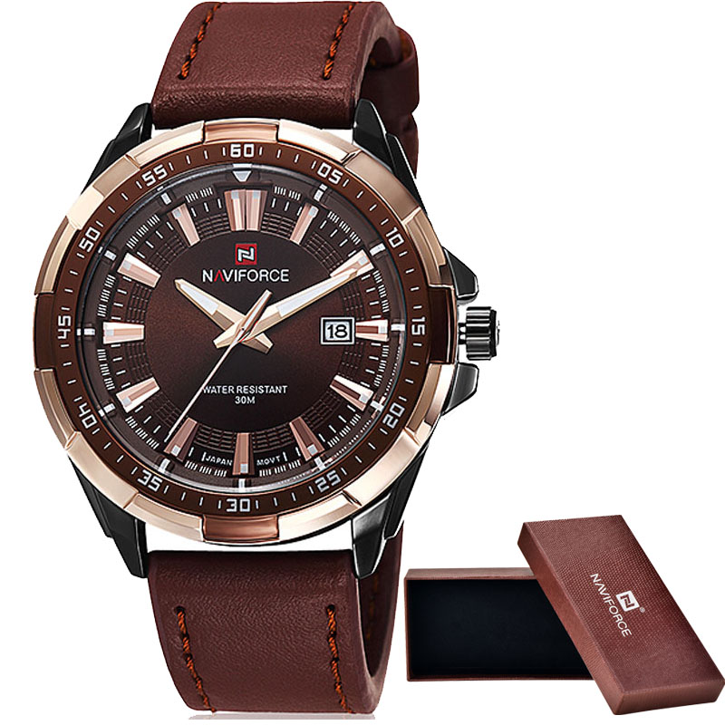 NAVIFORCE Brand Men's Sport Quartz Watch Waterproof Leather Band 1