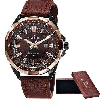 d449cd70d44 2016 NAVIFORCE Brand Men s Fashion Casual Sport Watches Men Waterproof  Leather Quartz Watch Man military Clock
