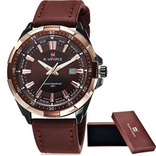 2016 NAVIFORCE Marca Moda hombre Casual Sport Relojes de Los Hombres de Cuero Resistente Al Agua de Cuarzo Reloj Hombre militar Reloj Relogio masculino