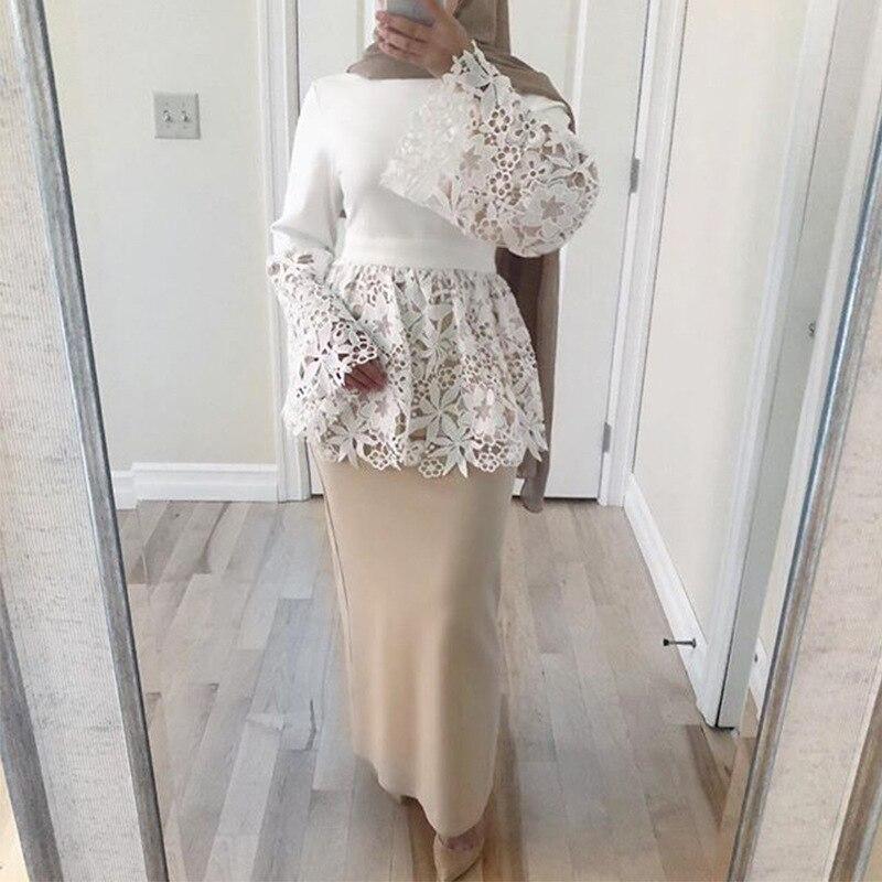 Abaya Dubai Turkey Arabic Lace Top Muslim Long Tops Qatar UAE Oman Abayas Women Ropa Musulmana Mujer Turkish Islamic Clothing