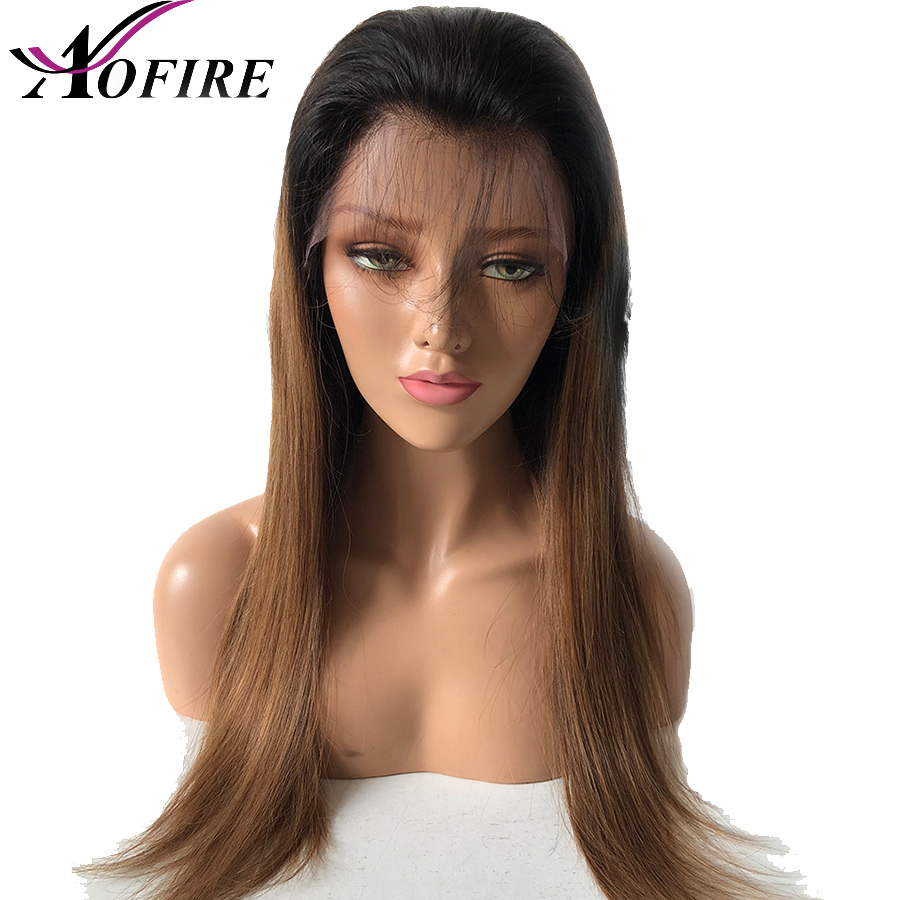 Lace Front Human Hair Wigs Pre Plucked Brazilian Straight Remy 1B 4 Wig With Baby Hair
