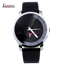 2017  gift Enmex creative style wristwatch mirror face simple design with red  arrow pointer brief  casual fashion quartz  watch