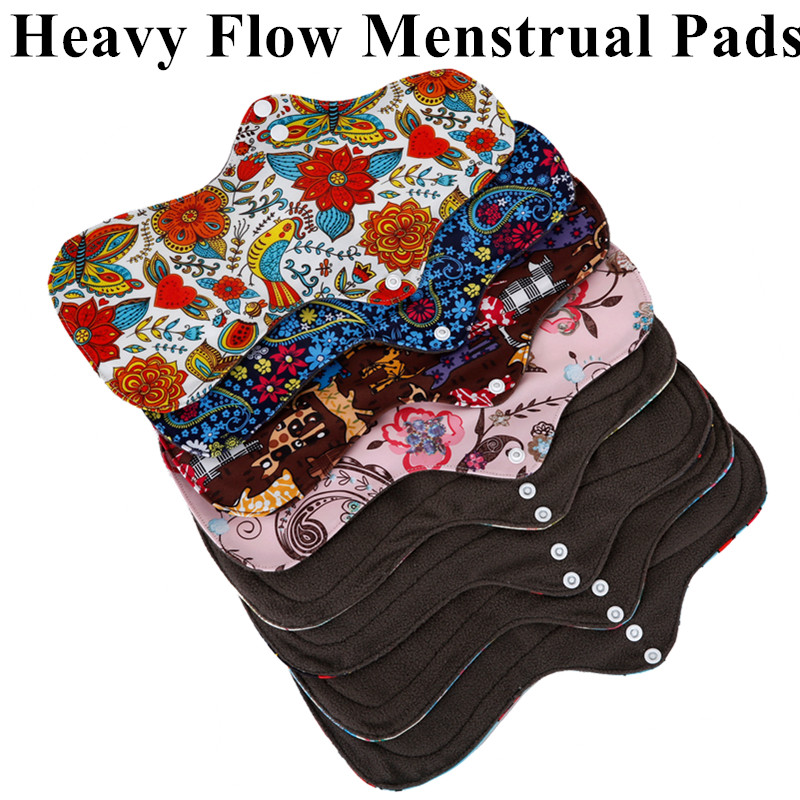 [simfamily]6Pcs ( 5+1Set )Heavy Flow Menstrual Pads Set Resualable Bamboo Charcoal  Mum Cloth Pads Night Use