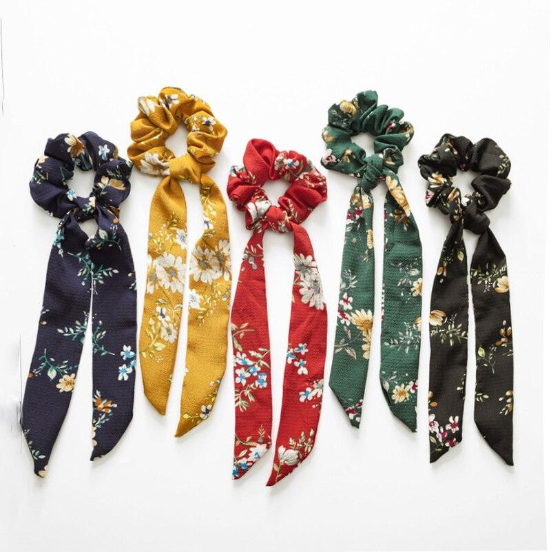 Hair Scarf Scrunchies for Women Elastic Hair Bands Ladies Vintage Streamers Scrunchies   Headwear   Girls Hair Tie Accessories 2019